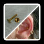Annodisiertes Piercing goldfarben Innerconch mit Topasaufsatz