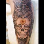 Eulen Tattoo von Xavielle mit Skull und Pokeball