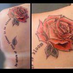 Schulter Tattoo von Xavielle Rose mit Spruch als Stil