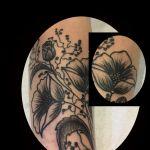 Sketch-Tattoo Blumen Black and Grey Tattoo